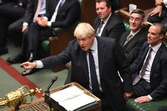 Le premier ministre britannique Boris Johnson à la Chambre des Communes après le discours de la Reine le 14 octobre
