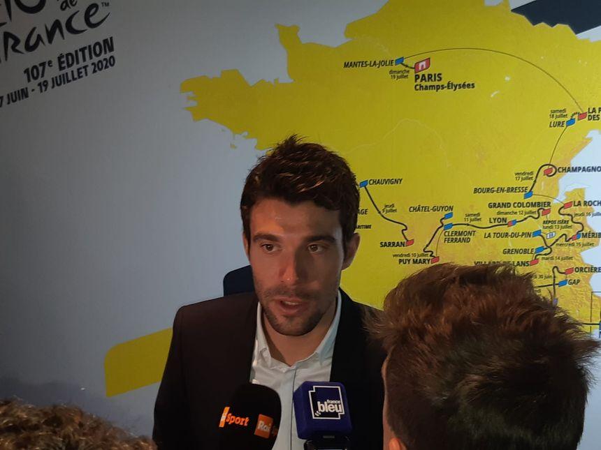 Thibaut Pinot lors de la présentation du Tour de France 2020