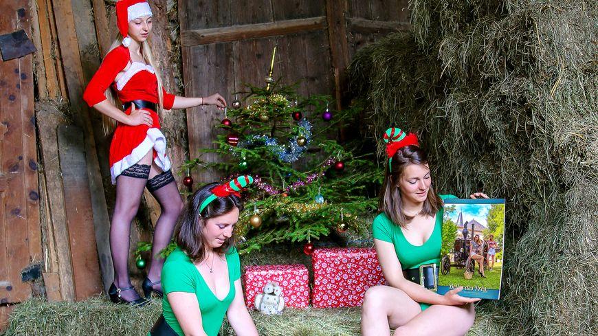 Le trio savoyard qui illustre le mois de décembre du calendrier Belles des Prés 2020