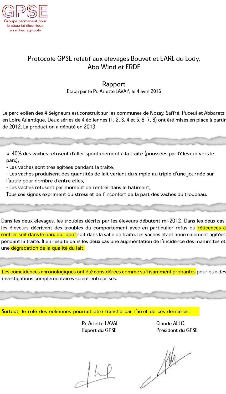 Protocole du GPSE concernant les exploitations voisines du parc éolien des 4 Seigneurs.