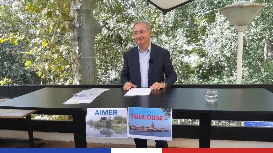 Jean-Luc Moudenc s'est présenté à la presse dans un restaurant de l'île du Ramier, futur poumon vert de la ville selon le candidat