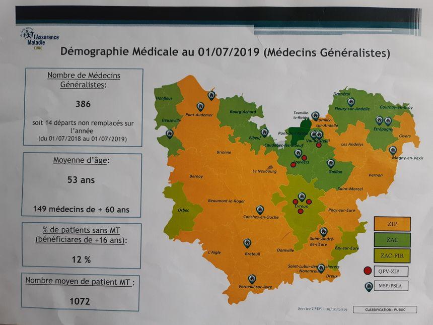 L'Agence régionale de santé a classé zones d'intervention prioritaire (en orange) 20 des 37 zones du département de l'Eure