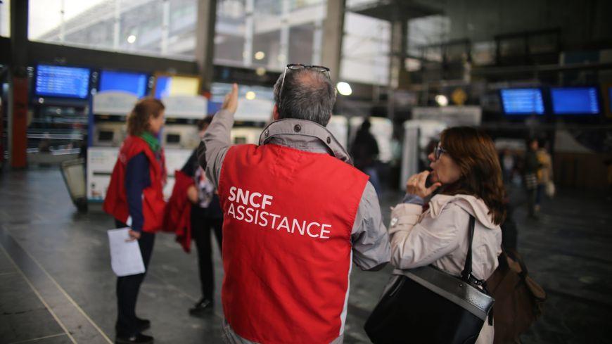 Mouvement social à la SNCF en gare de Nantes le 19 octobre 2019