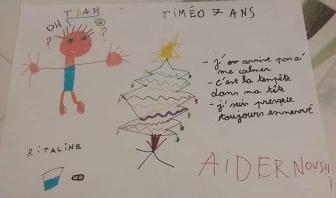 Dessin d'un petit garçon atteint de TDAH pour l'opération papa noel Macron
