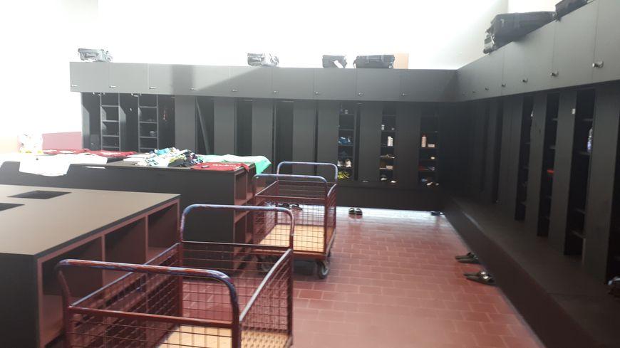 Le vestiaire des professionnels du FC Metz à Frescaty