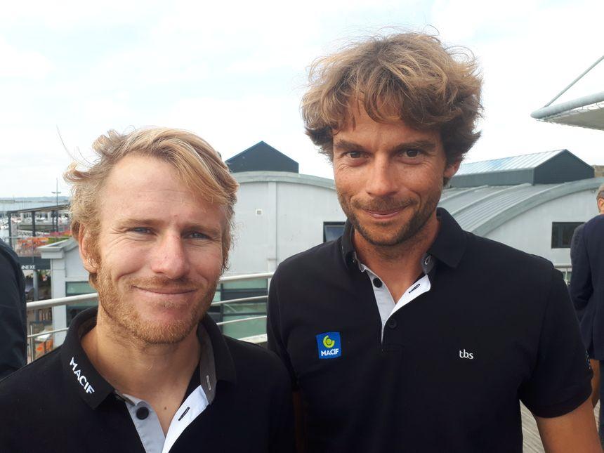 François Gabart et Gwénolé Gahinet, skipper et co-skipper de l'ultim Trimaran Macif, engagé dans la course  Brest Atlantiques