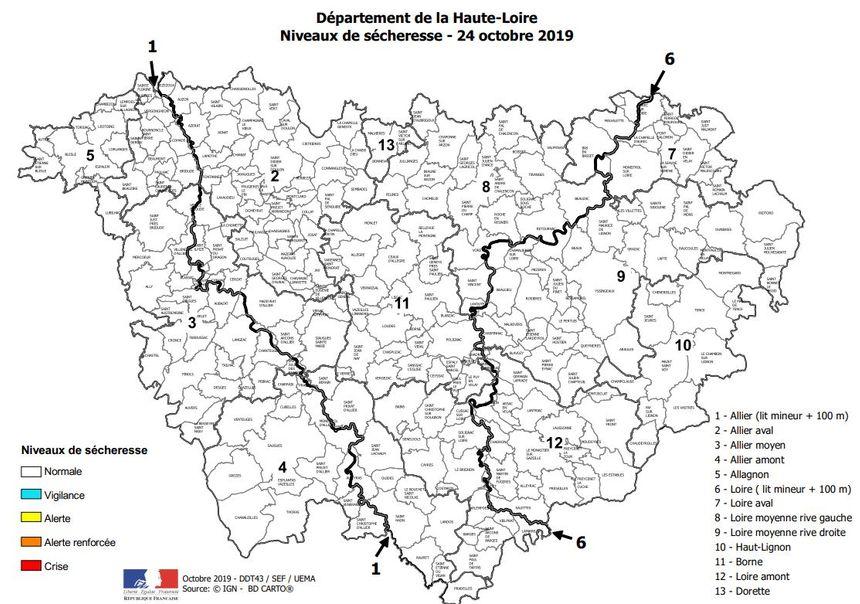 Une carte toute blanche signifie que la situation est à peu près normale, selon la préfecture