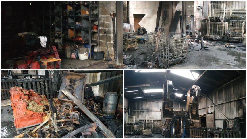 Les dégâts dans le hangar du domaine de La Croix-Melier à Montlouis-sur-Loire sont considérables
