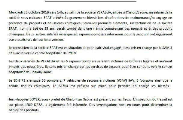 Le communiqué de presse de la préfecture de Châlon-sur-Saône