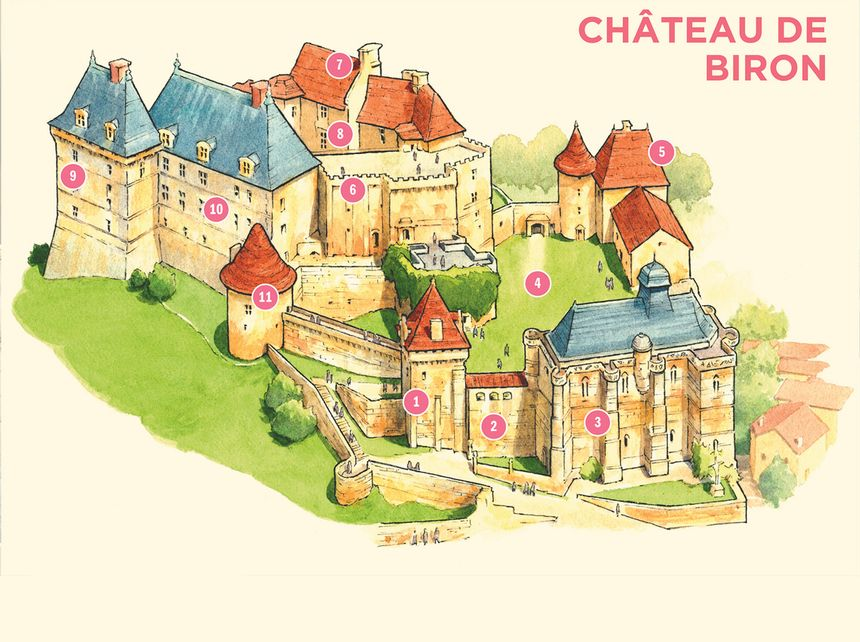 Carte du château de Biron