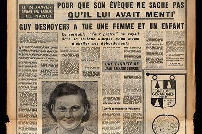Article du journal L'Aurore du 21 janvier 1958 sur l'affaire du prêtre Uruffe (Guy Desnoyers, prêtre d'Uruffe, a tué sa maîtresse enceinte Regine Fays)
