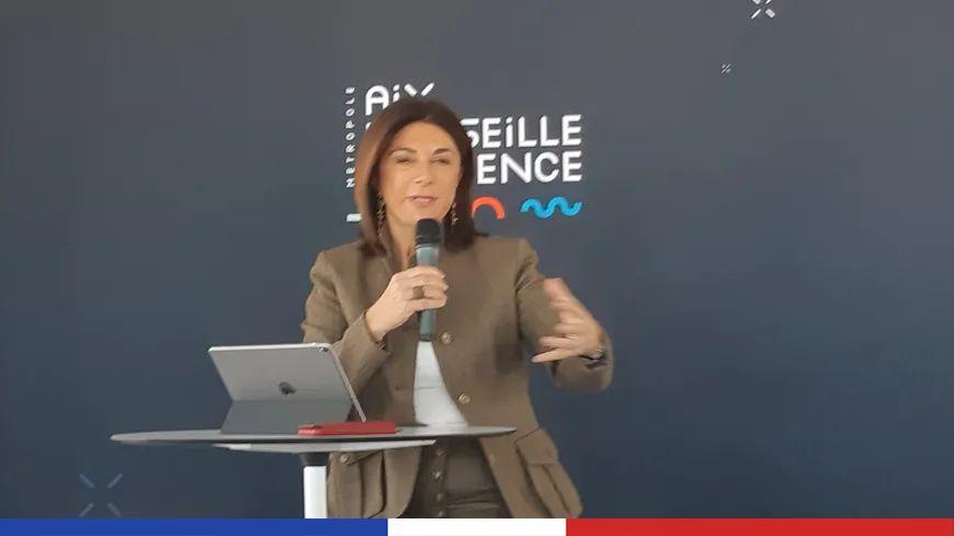 Martine Vassal lors de la présentation des grands projets de transports de la Métropole.