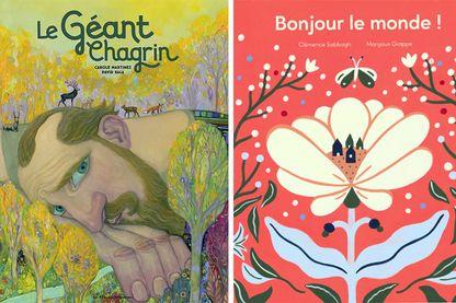 """Couvertures de """"Le géant chagrin"""" et """"Bonjour le monde"""""""