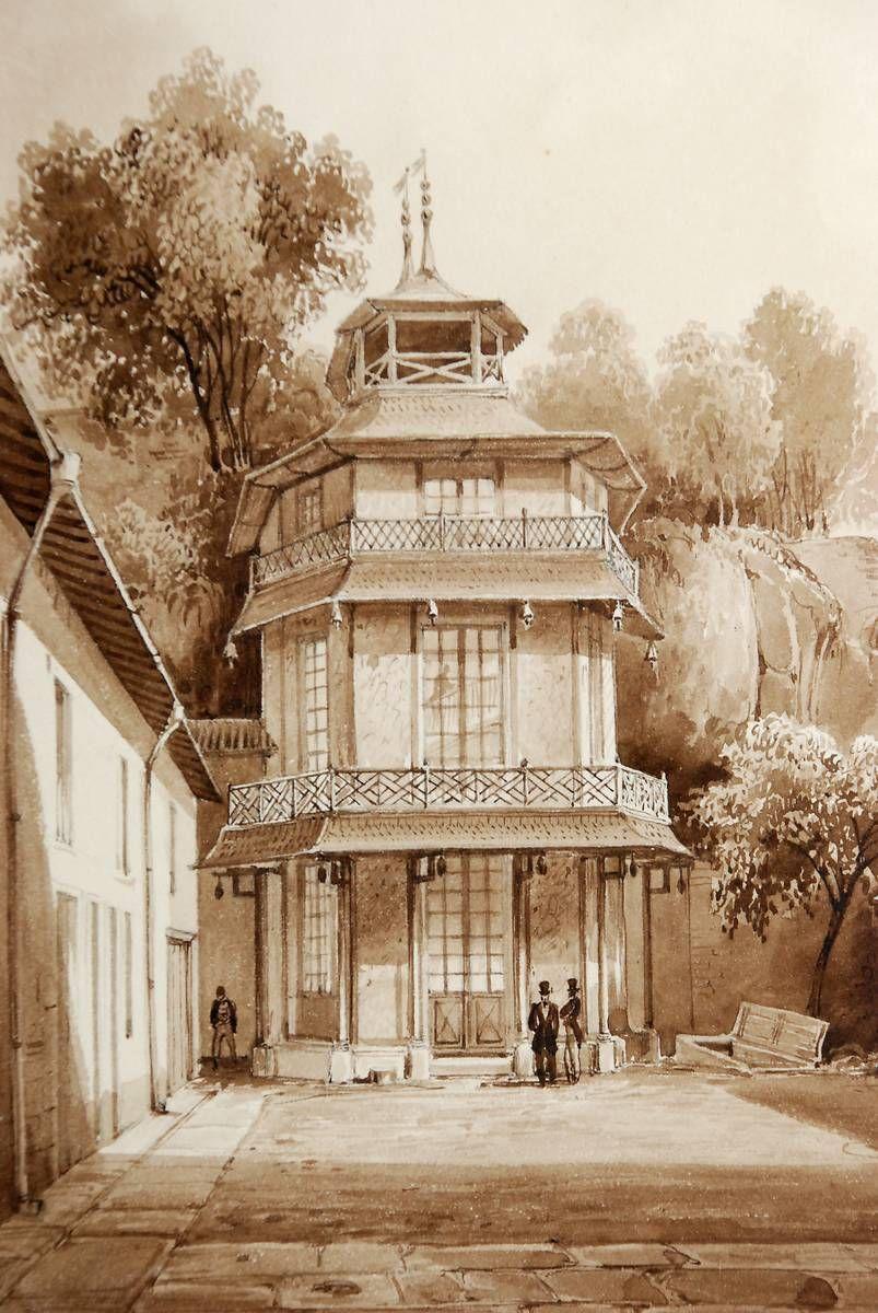 gravure de la Tour Chinoise au XIXe siècle