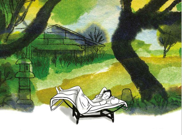 Extrait de la couverture de Charlotte Perriand par Charles Berbérian (éd du Chêne / Arte Editions)