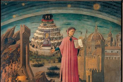 """Représentation symbolique de l'œuvre de Dante Alighieri """"Divine Comédie"""" par Domenico di Michelino, 1465, Florence"""