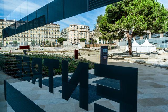 le port antique vu de l'intérieur du musée d'histoire de Marseille
