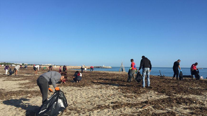 Les habitants d'Argelès-sur-Mer et des communes voisines ont nettoyé la plage du Racou ce samedi matin.