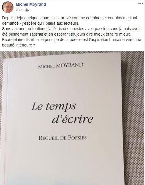 Michel Moyrand a annoncé la publication de son recueil sur sa page facebook
