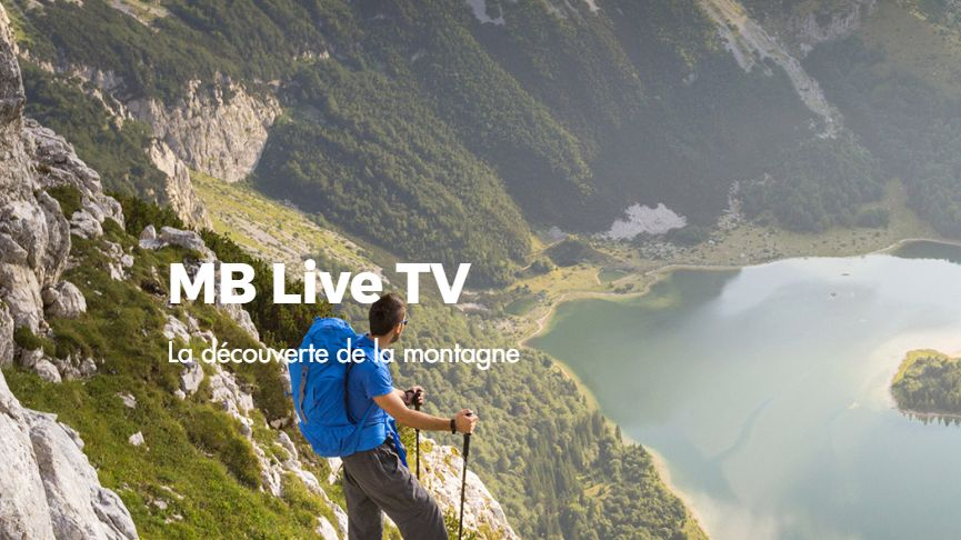 Page d'accueil de MB Live TV , la chaîne de télévision thématique sur la montagne du groupe Bontaz