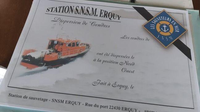 Au 1er novembre 2019 Erquy, la SNSM a réalisé une trentaine de dispersion des cendres en mer contre une vingtaine sur l'ensemble de l'année 2018