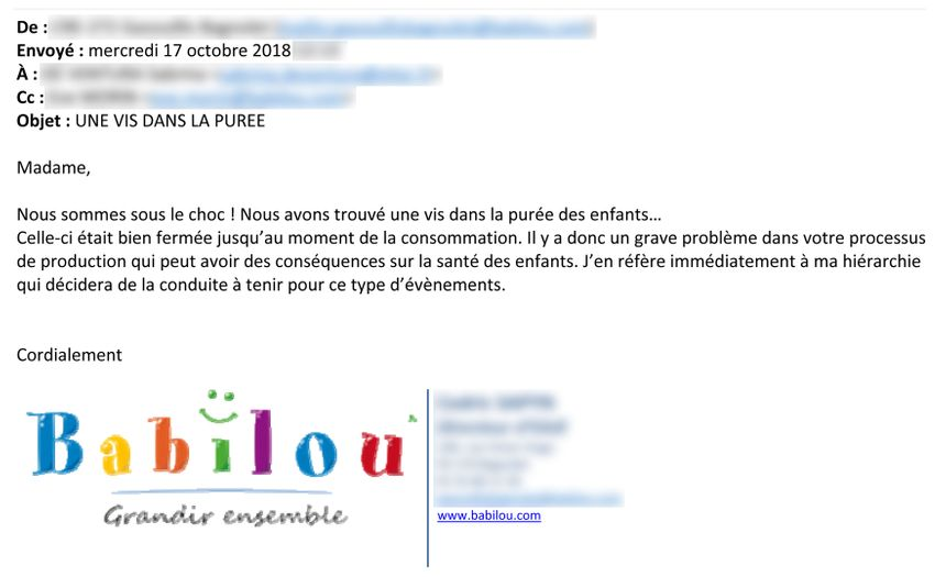 Mail d'un directeur de crèche Babilou à Elior, après avoir trouvé une vis dans la purée des enfants