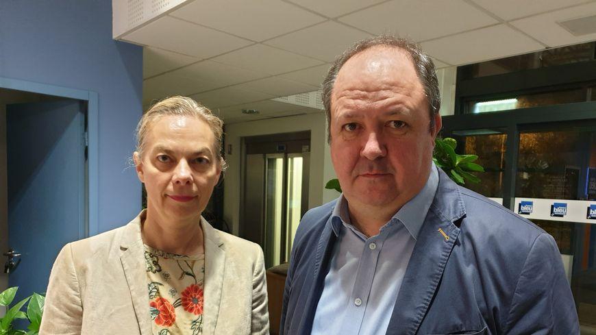Isabelle Striga, directrice générale de Lubrizol France, et Laurent Bonvallet, directeur du site de Rouen.