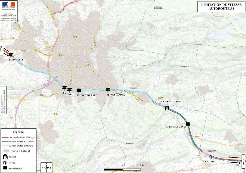 La nouvelle limitation de vitesse s'appliquera à partir du tunnel de Langesse