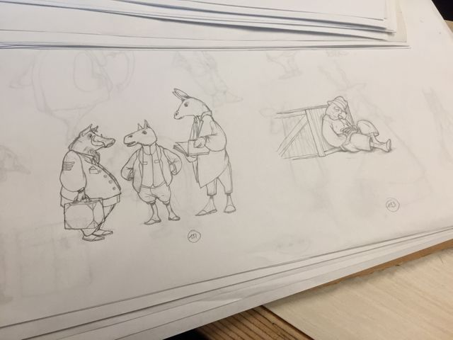 Des croquis de Rébecca Dautremer pour 'Midi pile - Une aventure de Jacominus Gainsborough'