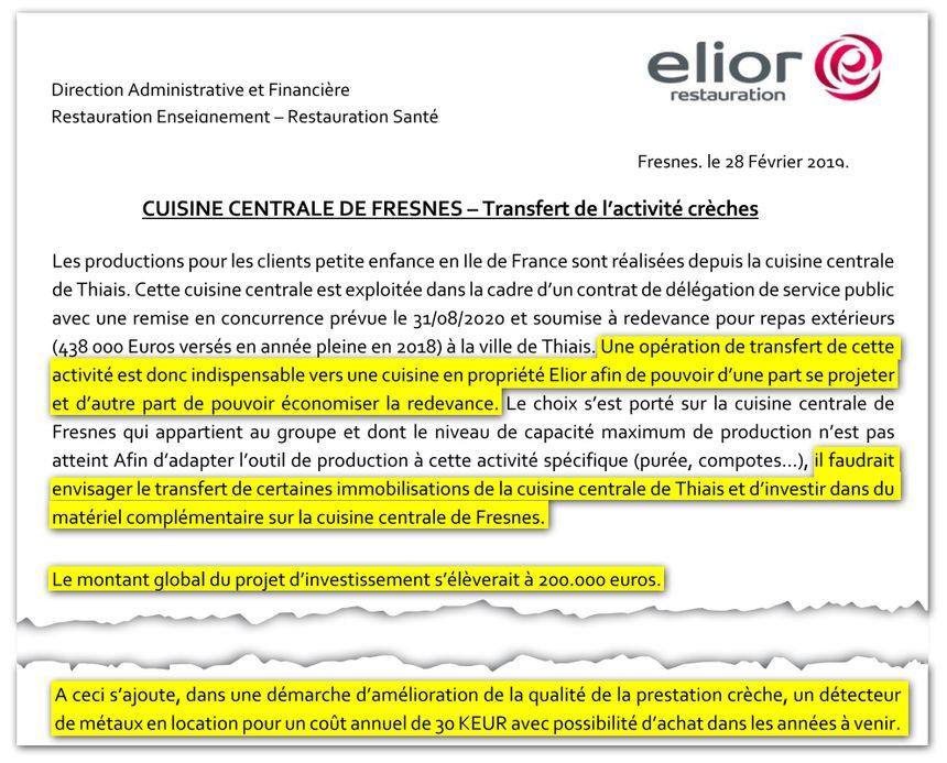 Extraits de l'étude de rentabilité du projet de transfert de l'activité crèches, réalisée par la direction financière d'Elior