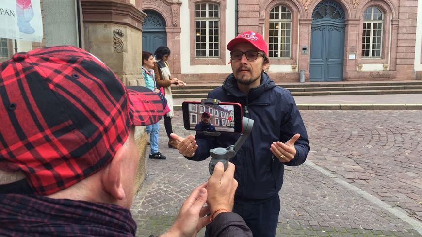 Lorànt Deutsch en plein tournage devant le tribunal de grande instance de Colmar