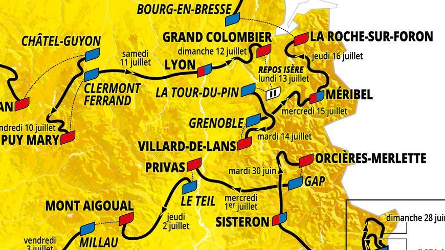 Le parcours de la 107e édition du Tour de France 2020 en Auvergne-Rhône-Alpes.