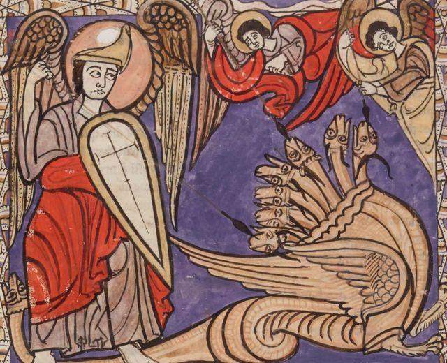 """Le """"Beatus"""", montré à l'occasion de l'exposition Tolkien à Paris, et datant du XIIe siècle, montre les premiers dragons figurant dans un livre"""