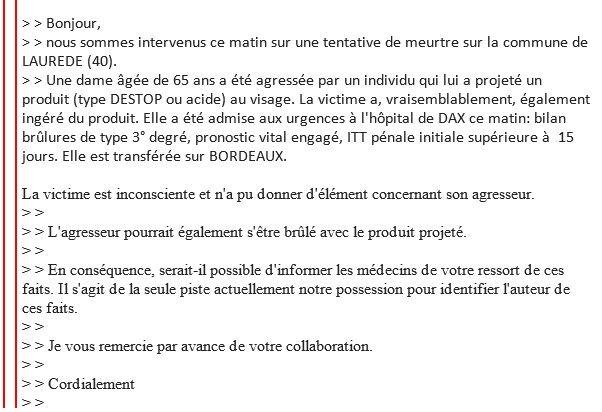 Capture d'écran du mail envoyé par la brigade de recherches de Dax aux professionnels médicaux