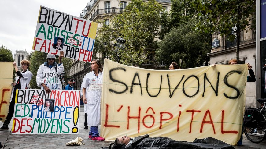 Rassemblement à Paris, à l'appel du collectif inter-urgences, le 26 septembre 2019