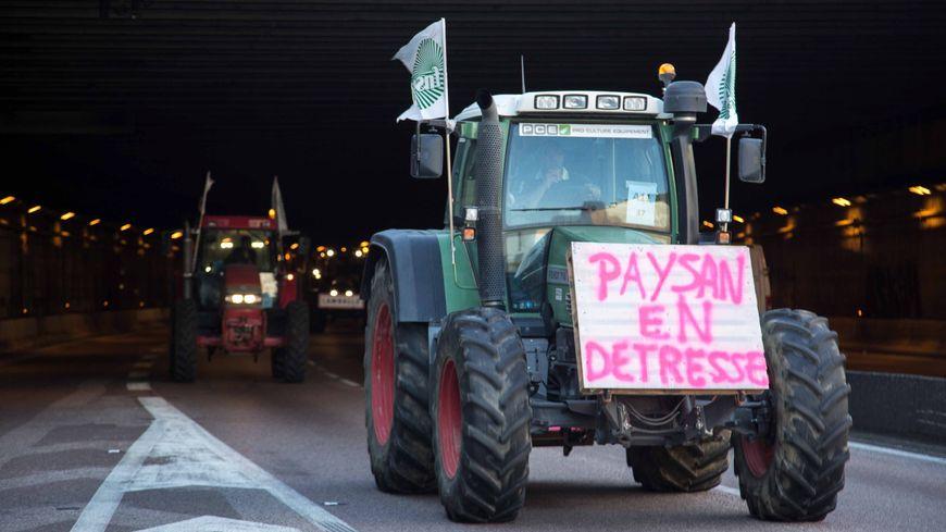 Manifestation d'agriculteurs à Paris en 2015.