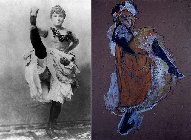 La Goulue (à g) et Jane Avril par Toulouse-Lautrec (à dr)