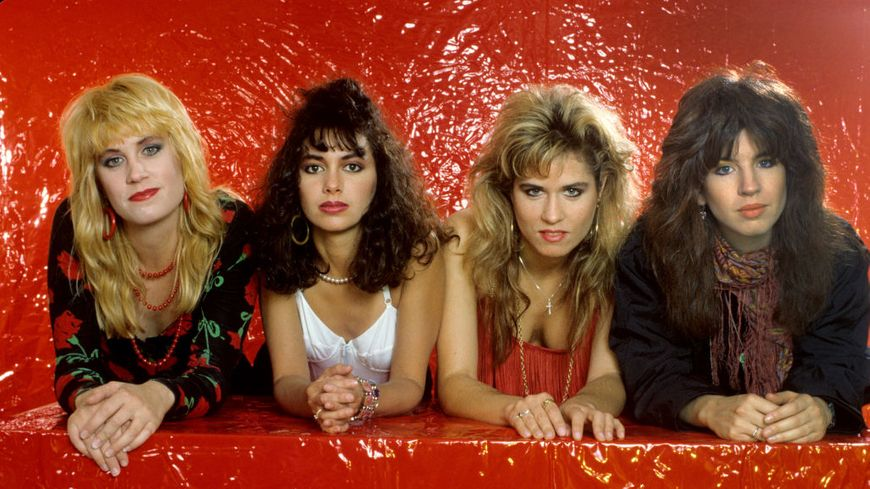 The Bangles (de gauche à droite) : Debbi Peterson, Susanna Hoffs, Vicki Peterson, Michael Steele le 14 juin 1986 à Munich.