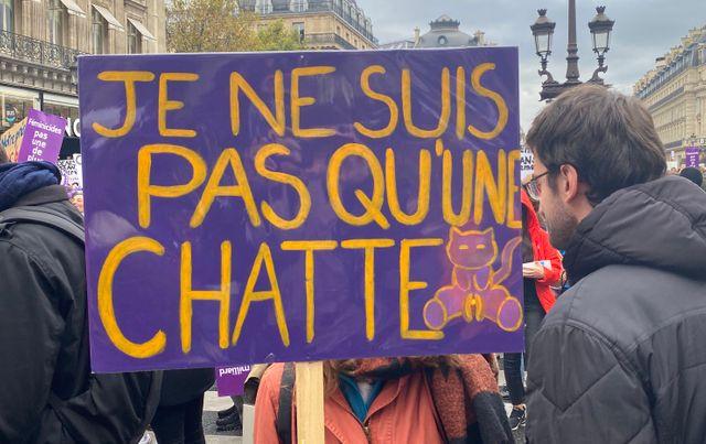 """Devant l'Opéra, une jeune femme tient cette pancarte qui dit """"Je ne suis pas qu'une chatte"""""""