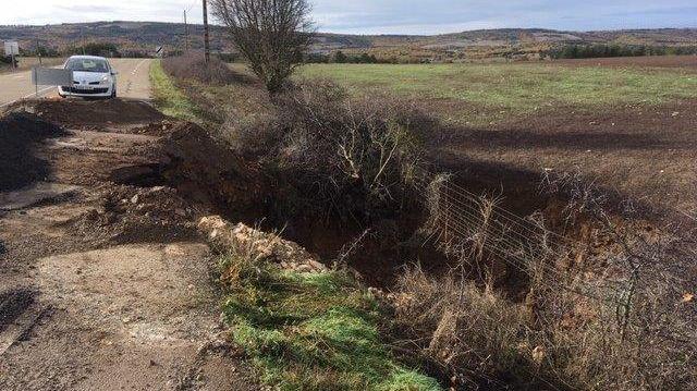 La route départementale 34 fermée suite à un effondrement