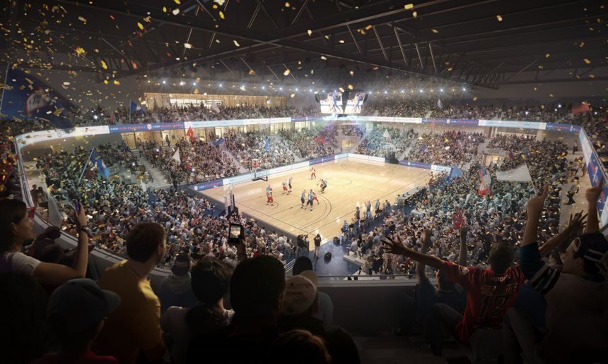 Vue de l'intérieur du futur palais des sports de Caen la mer