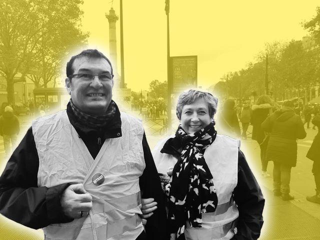 """Sylvia et son époux, tous les deux là, un an après la première manifestation des """"gilets jaunes""""."""