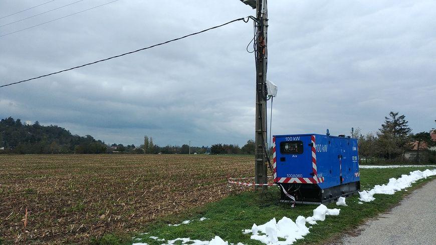 Un groupe électrogène sur la commune de Beaumont-lès-Valence le 19 novembre