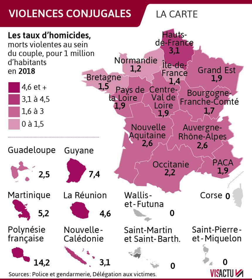 Violences conjugales : les taux d'homicides en France en 2018
