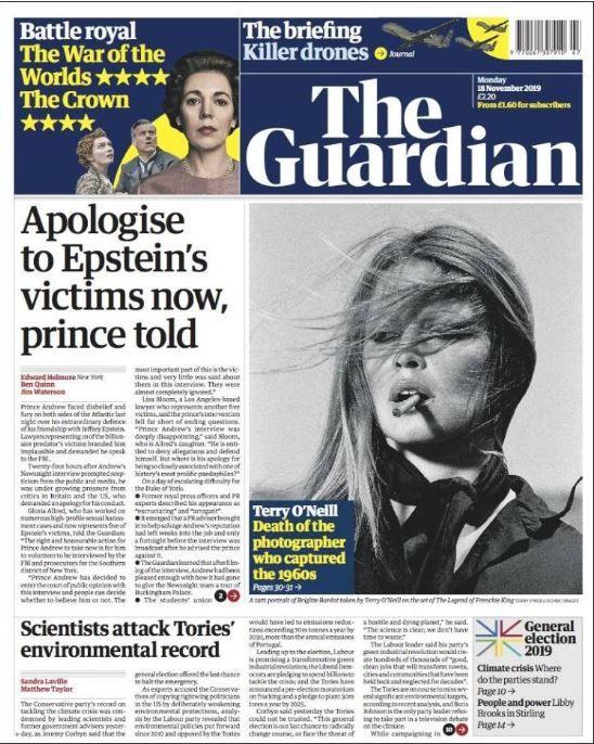 The Guardian interpelle le prince Andrew et lui demande de s'excuser auprès des victimes
