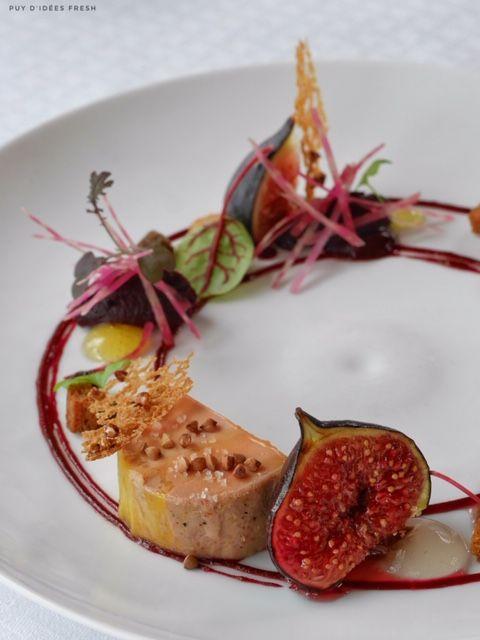 Foie Gras mi-cuit, Sarrasin torréfié, Figues, Betteraves , Cardamone - La Bergerie de Sarpoil