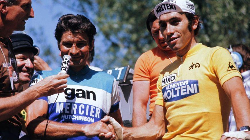 Raymond Poulidor et Eddy Merckx lors du Tour de France 1974
