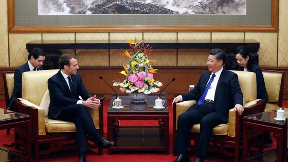 Emmanuel Macron avec Xi Jinping