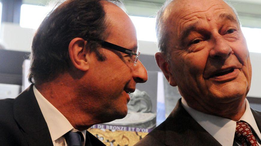 François Hollande et Jacques Chirac, complices, au musée de Sarran en 2011