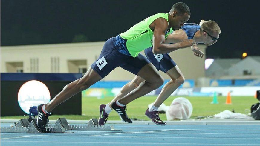 Jeffrey Lami et Timothée Adolphe au départ du 400m à Dubaï